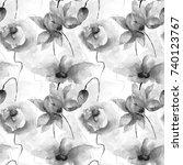 seamless wallpaper with garden... | Shutterstock . vector #740123767