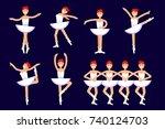 ballerina different poses in...   Shutterstock .eps vector #740124703