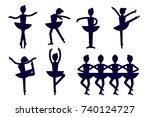 ballerina silhouette poses... | Shutterstock .eps vector #740124727