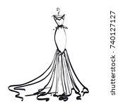 wedding dress design  black and ... | Shutterstock .eps vector #740127127