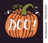 halloween greetings card. from... | Shutterstock .eps vector #740132347