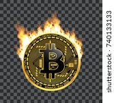 crypto currency golden coin... | Shutterstock . vector #740133133