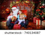 good old santa claus and happy... | Shutterstock . vector #740134087