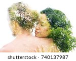 a supportive embrace brings... | Shutterstock . vector #740137987