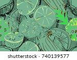 tropical seamless pattern. ripe ... | Shutterstock .eps vector #740139577
