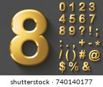 Set of golden luxury 3D Numbers and Characters. Golden metallic shiny bold symbols on gray background. Good set for wealth and jewel concepts. Transparent shadow, EPS 10 vector illustration. | Shutterstock vector #740140177