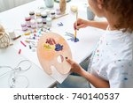 high angle portrait of creative ... | Shutterstock . vector #740140537