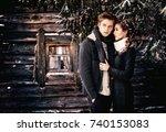 a beautiful couple in love in... | Shutterstock . vector #740153083
