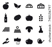 16 vector icon set   greenhouse ... | Shutterstock .eps vector #740156797