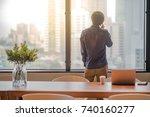 young asian man talking... | Shutterstock . vector #740160277
