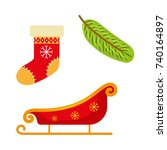 set of flat style christmas... | Shutterstock .eps vector #740164897