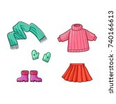 set of warm clothes   sweater ... | Shutterstock .eps vector #740166613