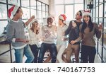 merry christmas and happy new... | Shutterstock . vector #740167753