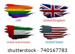 set smear paint of flag on... | Shutterstock .eps vector #740167783