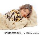 funny hipster girl in knitted... | Shutterstock . vector #740172613