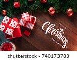 the inscription of merry... | Shutterstock . vector #740173783