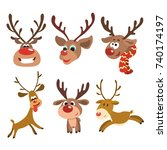 christmas reindeer set. funny... | Shutterstock .eps vector #740174197