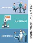 business meetings set. workshop ... | Shutterstock .eps vector #740175157