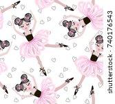 cute dancing ballerina girls in ... | Shutterstock .eps vector #740176543