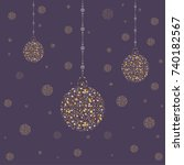 hanging golden ornaments for... | Shutterstock .eps vector #740182567