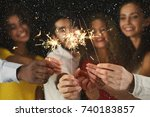 holiday background with... | Shutterstock . vector #740183857