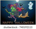the witch flies on her broom.... | Shutterstock .eps vector #740192113