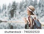 beautiful young woman spending... | Shutterstock . vector #740202523