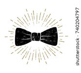 hand drawn bow tie textured... | Shutterstock .eps vector #740204797