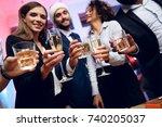 people are preparing to meet... | Shutterstock . vector #740205037