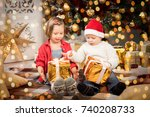 sister and brother give xmas... | Shutterstock . vector #740208733