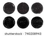 grunge circles round frames.... | Shutterstock .eps vector #740208943