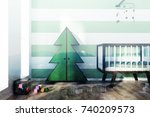 green and white striped nursery ... | Shutterstock . vector #740209573