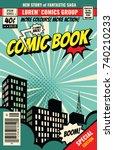 retro magazine cover. vintage... | Shutterstock .eps vector #740210233