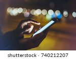 woman pointing finger on screen ... | Shutterstock . vector #740212207