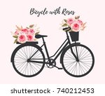 bicycle with roses | Shutterstock .eps vector #740212453