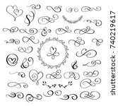 set of flourish calligraphy... | Shutterstock .eps vector #740219617