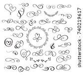 set of flourish calligraphy... | Shutterstock .eps vector #740219617