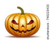 scary jack o lantern halloween... | Shutterstock .eps vector #740223433