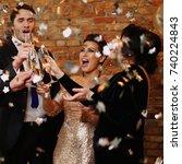 happy beautiful couples...   Shutterstock . vector #740224843