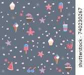 cute summer pattern with... | Shutterstock .eps vector #740230267