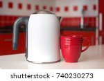 electric kettle with cup on a... | Shutterstock . vector #740230273