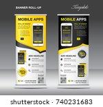 mobile apps roll up banner... | Shutterstock .eps vector #740231683