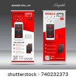mobile apps roll up banner... | Shutterstock .eps vector #740232373