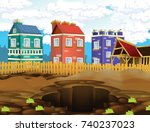 cartoon scene of construction... | Shutterstock . vector #740237023