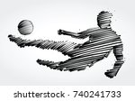 soccer player jumping to kick... | Shutterstock .eps vector #740241733