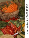 vegetables and baskets | Shutterstock . vector #740242453