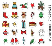 set of xmas hand draw stickers... | Shutterstock .eps vector #740244253