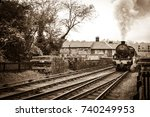 english vintage steam train  | Shutterstock . vector #740249953