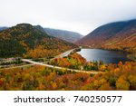 Franconia Notch in autumn. View from Artist