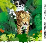 vector isolated leopard or... | Shutterstock .eps vector #740258743